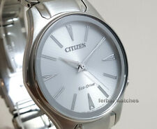 CITIZEN LADY ECO DRIVE WHITE FACE STAINLESS STEEL BAND 50 m EM0597-80A