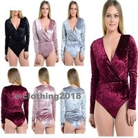 Ladies Crushed Velvet Wrap Over Long Sleeve Women's Leotard Bodysuit Size 8-14