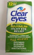 2 PACK Clear Eyes Maximum  Itchy Eye Relief Eye Drops 12 Hour .5 fl oz