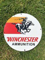 "VINTAGE WINCHESTER AMMUNITION PORCELAIN METAL GAS & OIL 12"" SIGN REMINGTON AMMO!"