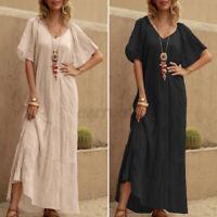 AU STOCK Women Summer Tiered Sundress Flare Sleeves Plus Size Long Maxi Dress