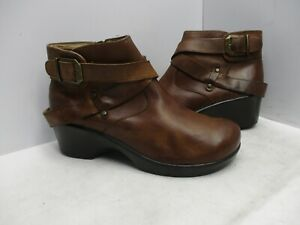 Alegria Eva-644 Brown Leather Zip Ankle Boots Womens Size 38 EUR