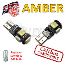 2 X Amber Canbus 501 W5W T10 5 SMD LED Bulbs - Side Light Number Plate Light