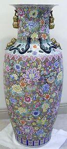 "PALATIAL Chinese Porcelain Baluster Floor VASE Gold Gilt Floral JARDINIERE 53""H"