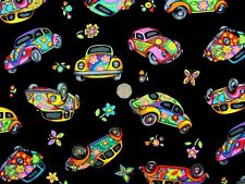 "VW Beetle Psichedelica Retrò Auto ""Herbie"" tessuto FQ 50cm x 56cm NUTEX 87150-101"