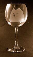 New Etched Samoyed on Large Elegant Wine Glasses
