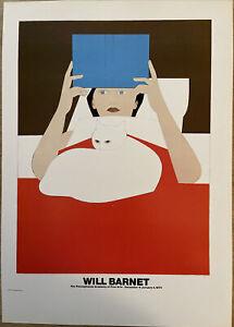 "Will Barnet ""Woman Reading"" Poster Pennsylvania Academy 1970 Woman Cat Vintage"