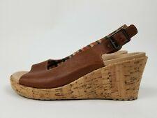 Crocs Leather Wedge Sandals Womens Size 8 Brown Cork Heel Sling Back #11848