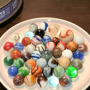 Vintage Marbles German Latticinio Onionskin Akro  Peltier Vitro Clay lot of 45