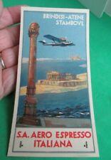 Vintage Airline Luggage Tag - S.A. Aero Espresso Italiana - Brindisi-Atene