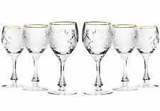 Set of 6 Neman Glassworks, 10-Oz Vintage Russian Crystal Wine Glasses Goblets