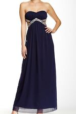 Trixxi Strapless Prom Dress Full Length Rhinestone Dark Blue Juniors 7 Worn Once