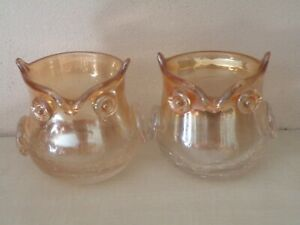 Pier 1 Imports Amber Owl Iridescent Crackled Glass Candle Holders set of 2