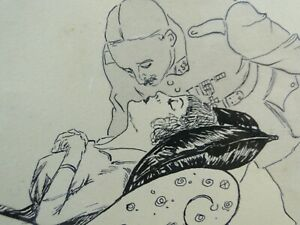"DELICIEUX DESSIN ORIGINAL ENCRE DE CHINE ART DECO ""LE RÊVE"" Ca. 1915  MILITARIA"