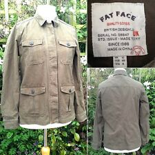 Fat Face Casual Jacket Cotton Canvas Front Tab & Button Pockets Khaki Green UK12