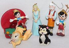 Lot of 6 Hallmark Disney Ornaments Pinocchio Gepetto Figaro Cleo Fairy Wand Blue