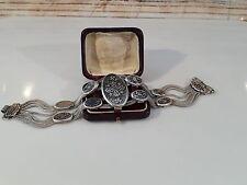 Antikes Armband Silber 900, Niello Design, schwarz emailliert, um 1930