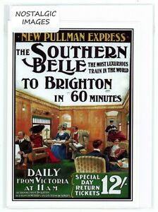 """Nostalgic 1912 """"Southern Belle"""" railway poster. Hand made blank greeting card.."""