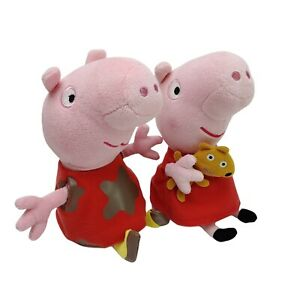 2 x TY Peppa Pig with Teddy and Muddy  Plush Soft Stuffed Toy Washed 22cm 2013