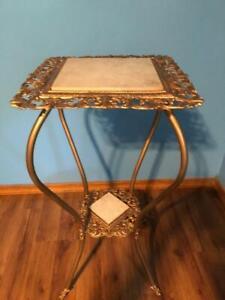Vintage Victorian Ornate Cast Metal Tile Gilt Plant Fern Stand Oil Lamp Table !