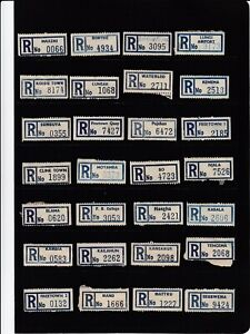 Sierra Leone Registration Labels x 33. All different, some small Post Offices