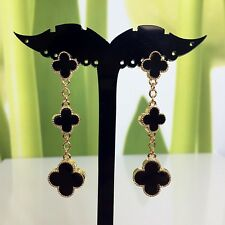 Brand New Gold Magic Vintage Alhambra 3 Black Motif Long Drop Earrings