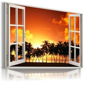"""3D SUNSET Window View Canvas Wall Art Picture Large SIZE 30X20"""" W315"""