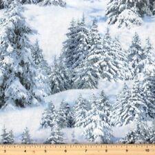 Christmas Fabric - Landscape Medley Snow Covered Trees - Elizabeth's Studio YARD