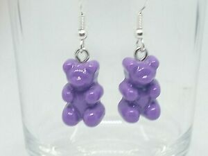 New Milky Purple Gummy Bear Drop Earrings Quirky Kawaii Novelty Sweets
