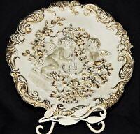 Antique Meissen Porcelain Plaque Rococo White Gold Gilded High Relief Cherubs