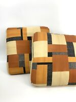 Vintage 70's Earthy Southwestern Colors Geometric Patterned Pair Throw Pillow