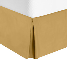 Solid Luxury Pleated Tailored Bed Skirt - 14� Drop Dust Ruffle, King -Camel Gold