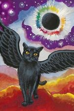 LE #1 4X6 POSTCARD RYTA SURREAL UNUSUAL BLACK CAT ANGEL TOTAL ECLIPSE OF THE SUN