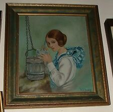 M A Murphy 1926 Oil on Canvasboard The Old Oaken Bucket Scituate MAss