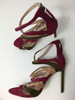 WOMENS ZARA MAGENTA PINK KHAKI FAUX SUEDE STRAPPY HIGH HEEL SANDALS SHOES UK 8