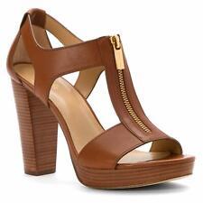 Michael Michael Kors Womens Berkley Leather Open Toe Casual, Luggage, Size 8.5