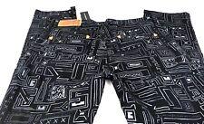 The Hundreds Mens Leather Tab Black Geometric Board Skate Pants 36W 31L Slim Fit