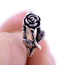 Vintage stile retrò argento antico di colore rosa anello aperto , Regno Unito ta