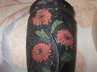 Black textured Made in Japan Vintage Red and Green Painted Flowers Wall Pocket