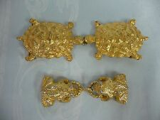 TWO SETS OF VINTAGE MIMI DI N BELT BUCKLES - TURTLES & FROGS