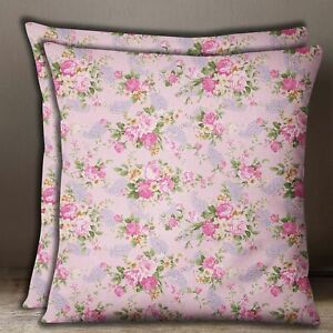 Home Decor Pink Cushion Cover Cotton Poplin Floral & Paisley Print Pillow Case