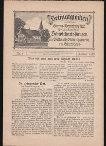EV. GEMEINDEBLATT Nr. 3 / 1922 SCHWICKARTSHAUSEN / BOBENHAUSEN Vogelsberg / HESS
