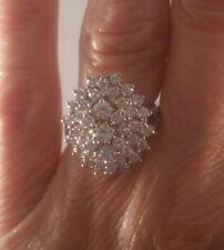 14K White Gold Genuine Diamond Cluster Ring Fabulous! FREE SIZING! ! ! ! !