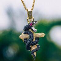 1.75 CT Round Multi Color Sim Diamond Men's Python Cross Pendant Only 925 Silver