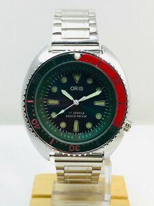 "Rare Vintage Oris Black Dial 17 Jewels Hand Winding ""Rotating Bezel"" Men's Watch"