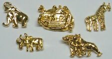 Vintage Noah's Ark Lapel Pins Lot of 5 Assorted Pins in Gold Plate by OSC NEW