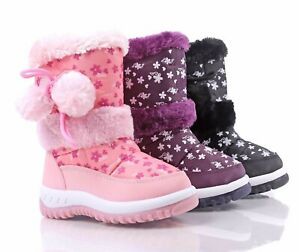 3 Color Water Resistant Pompom Side Zipper Girls Toddlers Kids Winter Snow Boots