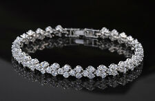 5 CT Diamond 14K White Gold Enhanced Tennis S-Link Bridal Bracelet, 7.5 Inches