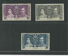 FIJI # 114-116 MNH ROYAL CORONATION OF KING GEORGE VI