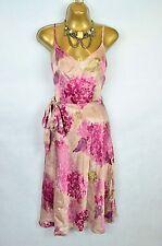 MONSOON 100% Silk pink floral belted dress UK 10